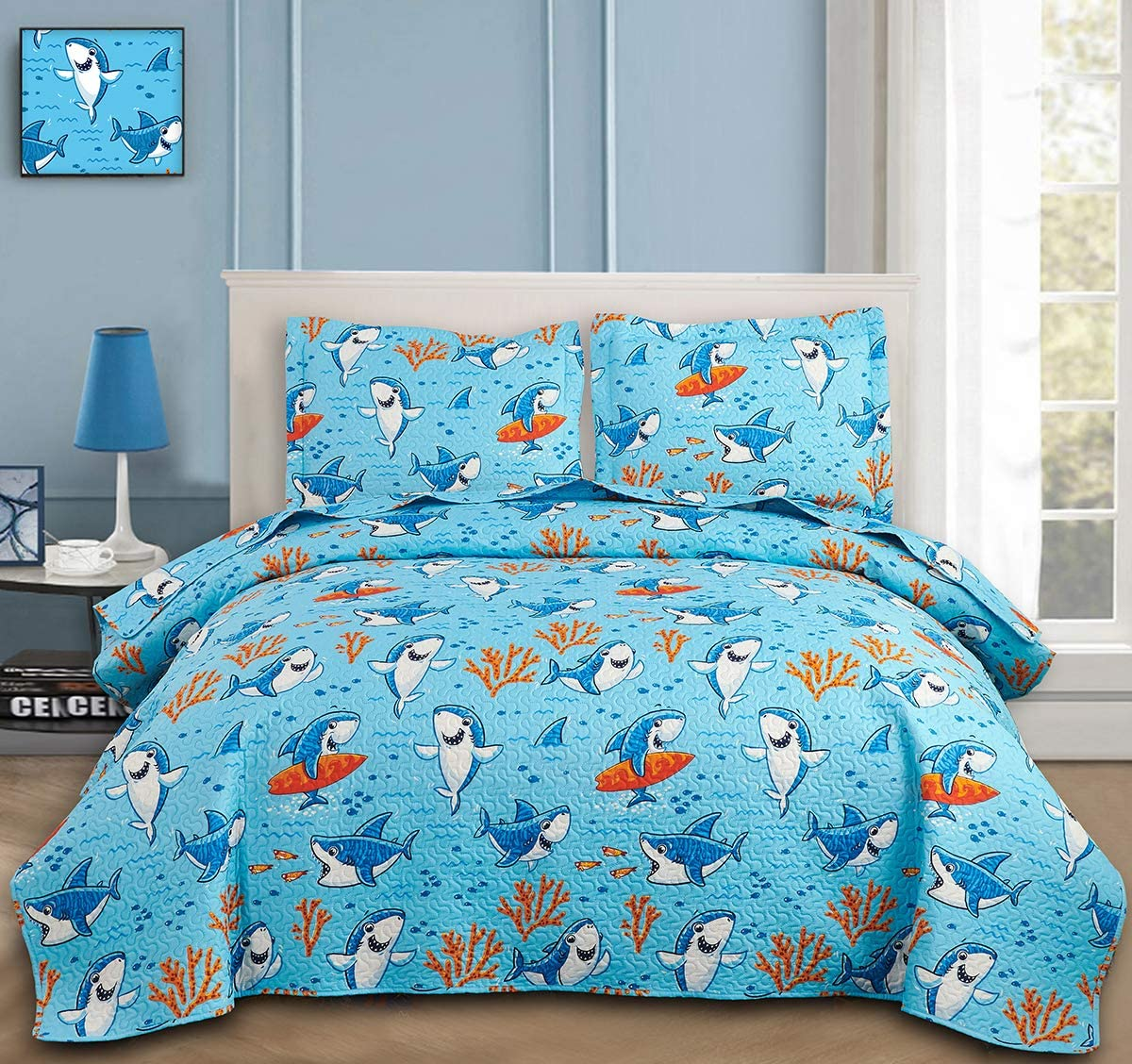 Kids Bedspread Set Twin Max 61% OFF Size Shark Bedding Boys Quilts Great interest
