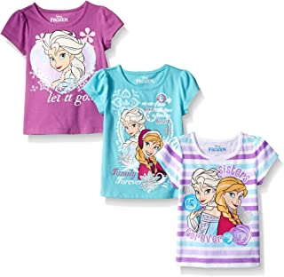 Disney Girls' 3 Pack Frozen T-Shirts