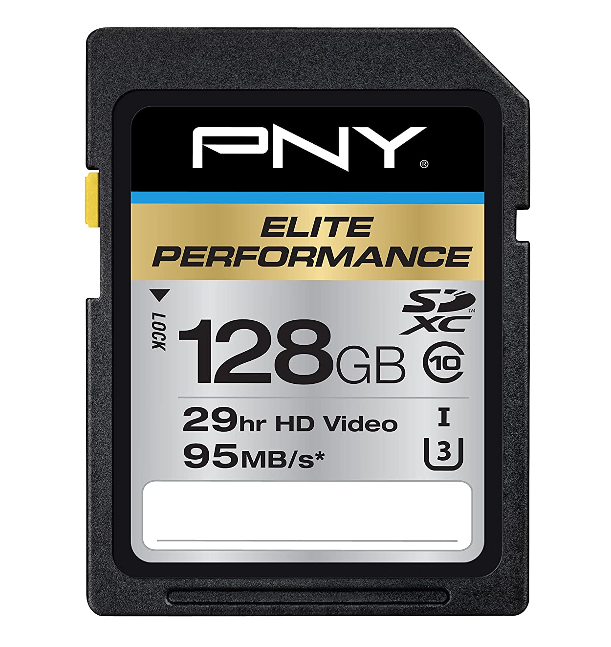 PNY P-SDX128U395-GE Elite Performance 128 GB High Speed SDXC Class 10 UHS-I, U3 Up to 95 MB/Sec Flash Card