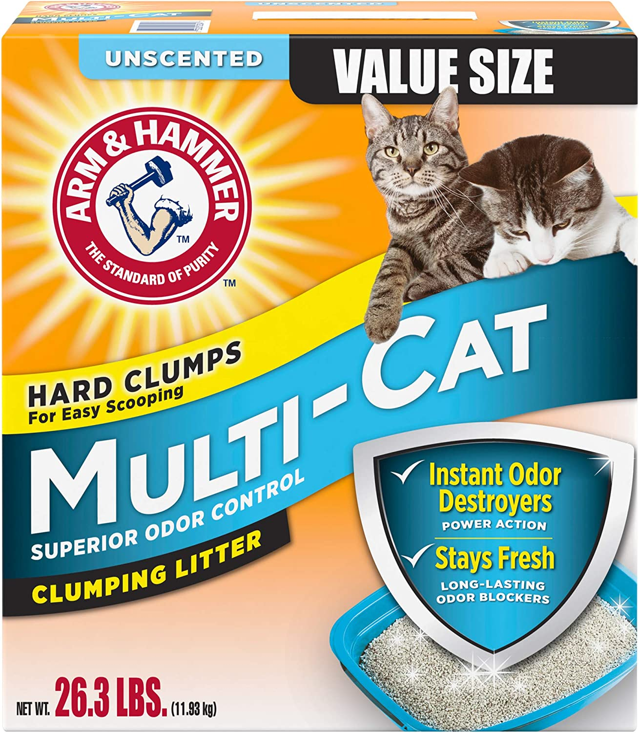 Arm & Hammer MultiCat Litter, Unscented, 26.3 Lbs (Packaging May Vary)