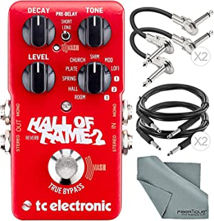 Photo Savings TC Electronic Hall of Fame 2 Reverb Effects Pedal for Electric Guitars and Accessory Bundle w/Cables + Fibertique Cloth
