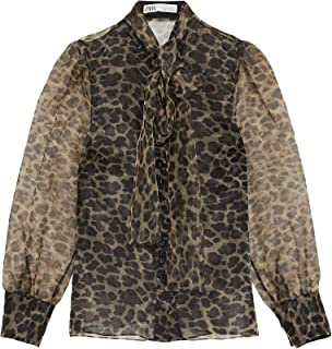 a98b70ad Zara Women's Animal Print Blouse with Bow 2015/609