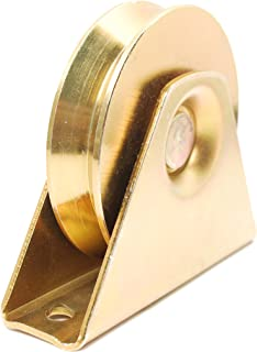 ALEKO WHEEL35INCHVG V Groove Wheel for Sliding Rolling Slide Chain Gear Rack Gate Track 3.5 Inch Diameter Gold