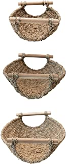 Bloomingville Decorative Seagrass & Metal Trays with Wood Handles, Natural, Set of 3 Basket, 3
