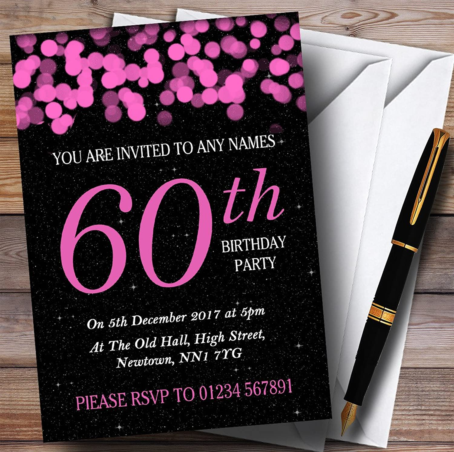 Pink Bokeh & Stars 60th Personalised Birthday Party Invitations