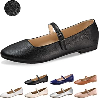 6b2a61e5a07db9 CINAK Flats Mary Jane Shoes Women s Casual Comfortable Walking Buckle  Classic Ankle Strap Style Ballet Slip