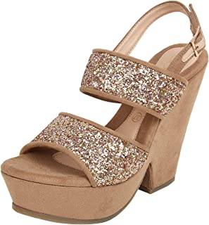 Catwalk Women's Glitter Ankle Strap Sandals