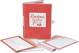 UniKeep Make Your Own Cookbook - Recipe Mini Binder with 5x7 Recipe Cards and Pocketed Plastic Pages - Red Gingham Design