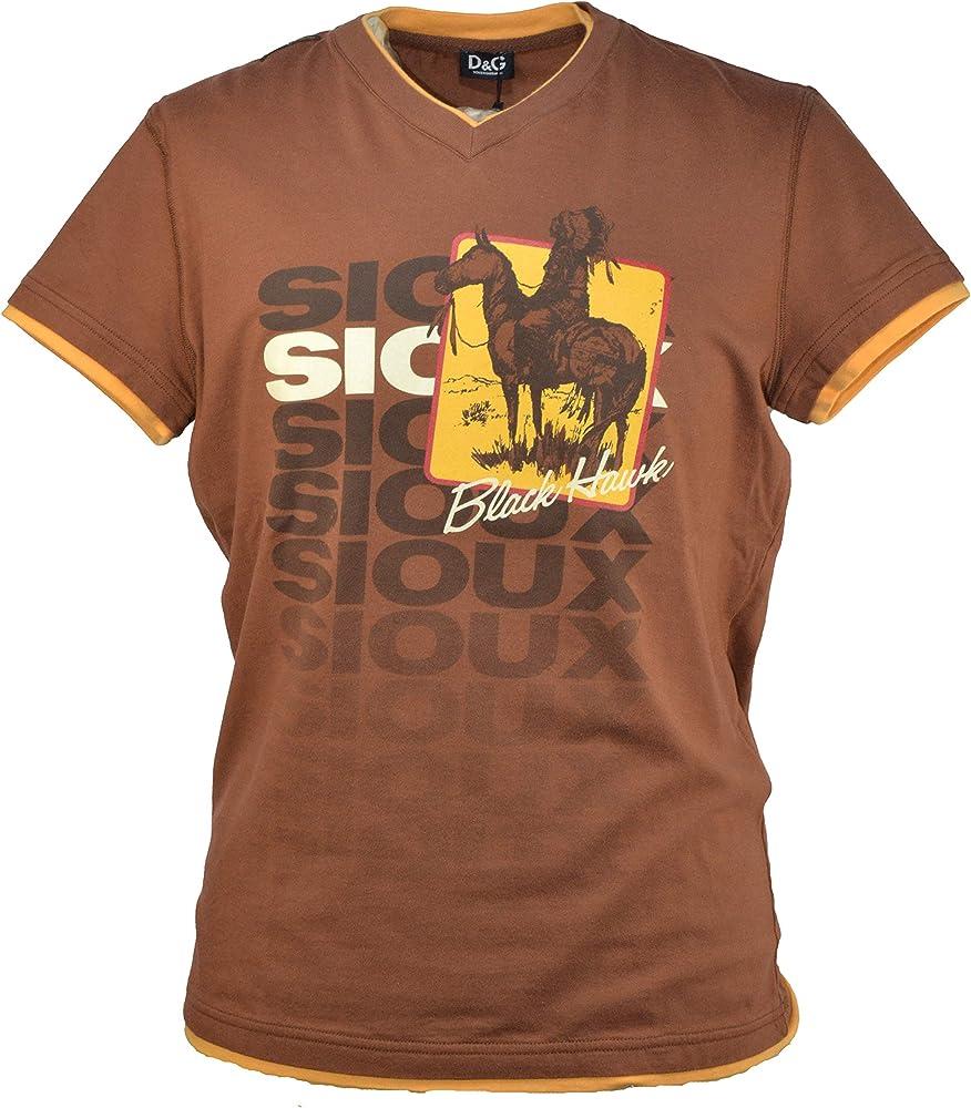 Dolce & gabbana d&g, t-shirt con scollo a v, maglietta da uomo 100% cotone, taglia L