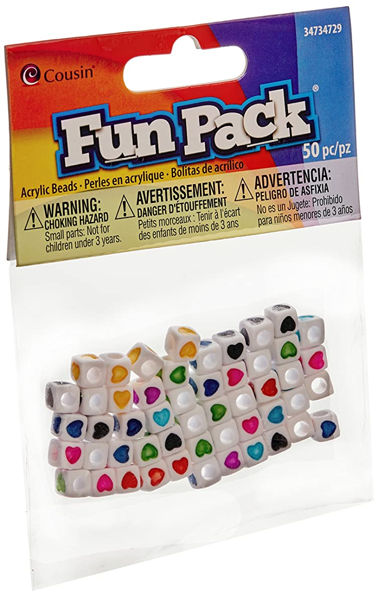 Cousin 34734729 Heart Cube Fun Pack Beads (50 Pack)