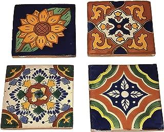 Rustic Talavera Hand-Painted Ceramic Coasters - Set of 4 - Designs Will Vary