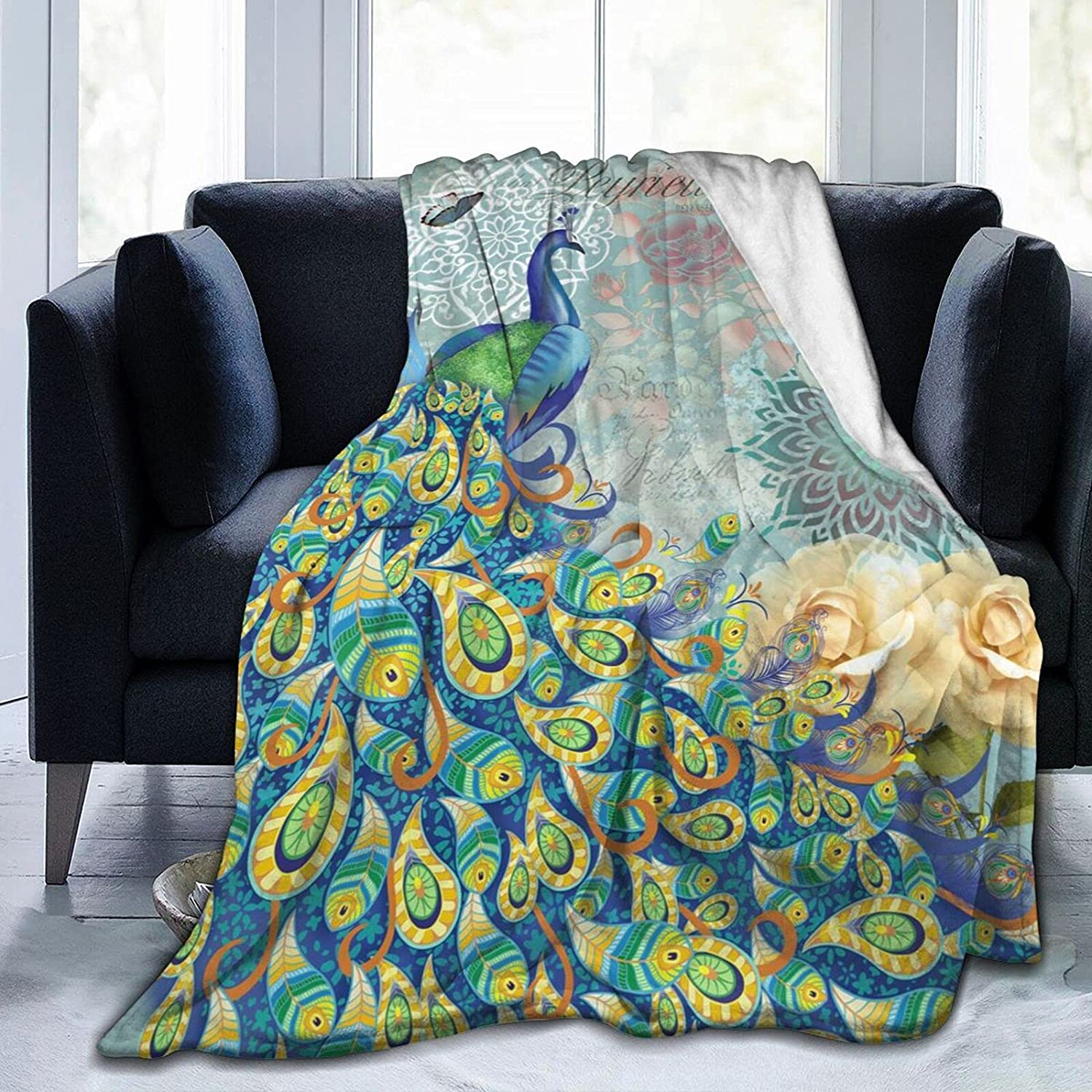 Peacock and Vintage Outlet sale feature Direct sale of manufacturer Botanical Throw Fleece Blan Flannel Blankets