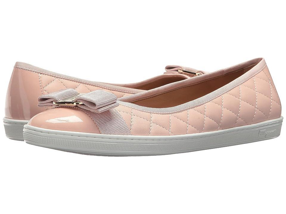Salvatore Ferragamo Nappa Leather/Tweed Sneaker (Bon Bon Nappa Moda F) Women
