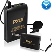 Wireless Clip Lavalier Microphone System - Portable Professional Clip Lav lapel Mic set with Volume Control, 20 ft range - Transmitter, Receiver, Battery - For Camera, Sound Recorder - Pyle Pro PDWM96