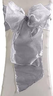 LA Linen 10-Pack Organza Sashes Chair Bows, Gray