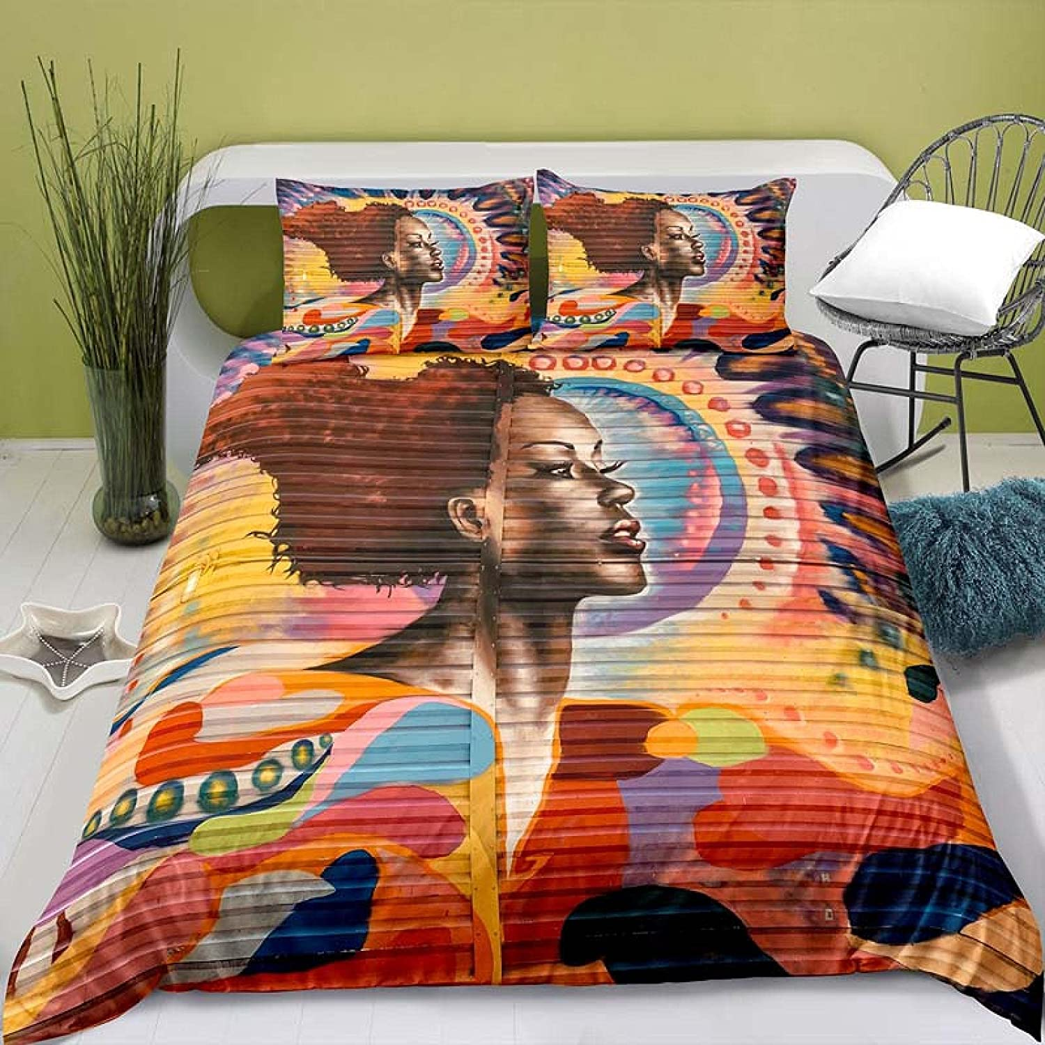 HQHM Duvet Cover King 3 2021new shipping free shipping Pieces Quality inspection Retro Color 87X9 Painting Pattern