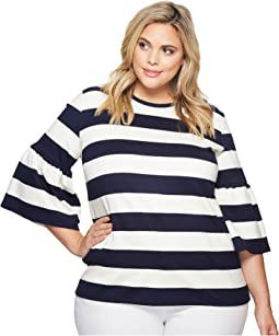 LAUREN Ralph Lauren Plus Size Striped Ponte Bell-Sleeve Top