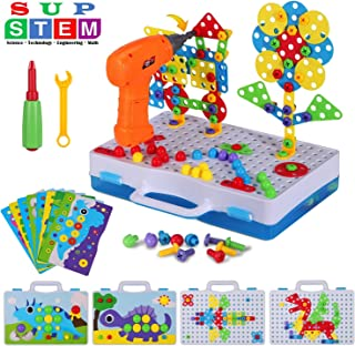 224 Pieces STEM Engineering Toys, Electric Drill Puzzle Toys and Button Art Kit, DIY Construction Building Blocks Pegboard for 4-8 Year Old Kids, Creative Games for Preschool Boys & Girls Gift