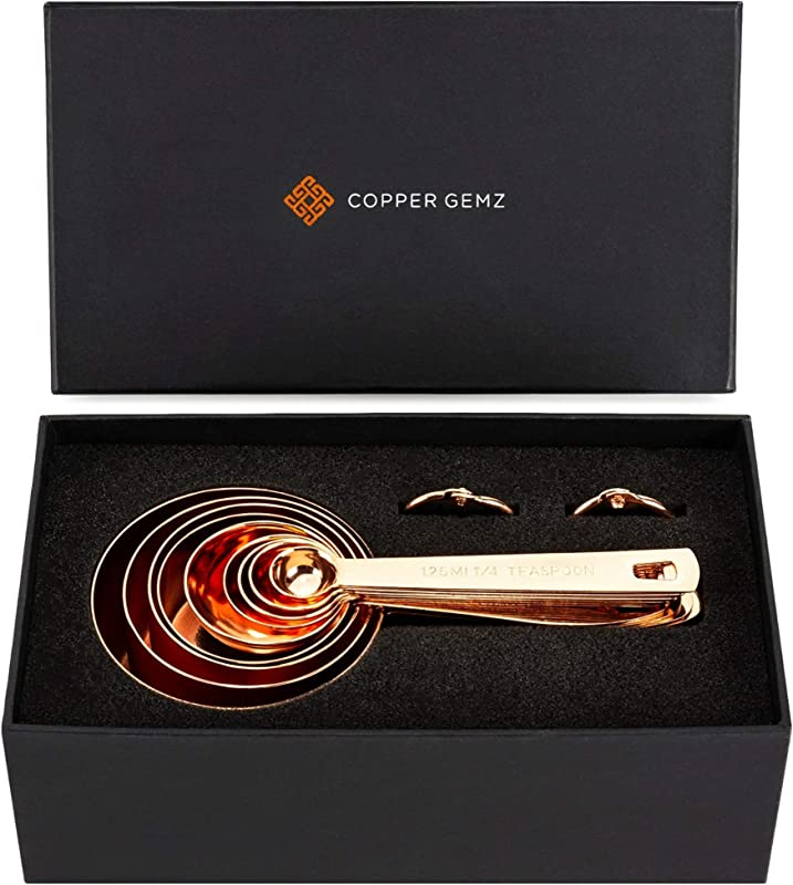 Copper Measuring Cups And Spoons GIFT SET Of 9 Classy Gift Packaging Superior Quality Unique Copper Gifts Rose Gold Gifts For Women Or Men 7th Anniversary Wedding Birthday By COPPER GEMZ
