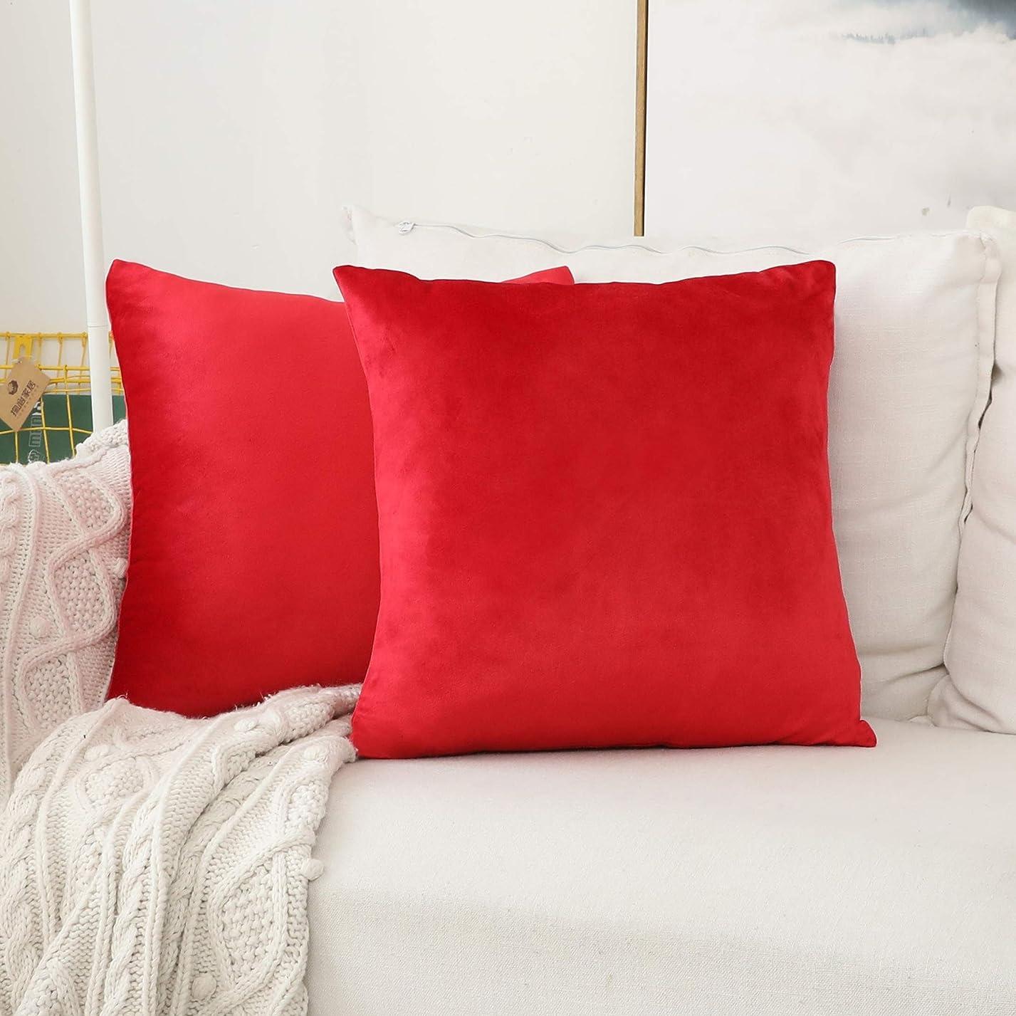 Home Brilliant 抱き枕カバー 抱き枕 暖かい純色 ベルベット 2枚セット シンプル 洋室 装飾 部屋 レッド 18インチ