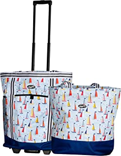 Olympia 2-Piece Rolling Shopper Tote and Cooler Bag, YACHT