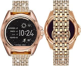 Diamante Watch Band for MK Bradshaw,22MM Crystal Rhinestone Diamond Jewelled Stainless Watch Band for MK Bradshaw,Fossil Q Marshal Gen 2,Gen 3 Q Explorist,Gear S3,Rose Gold