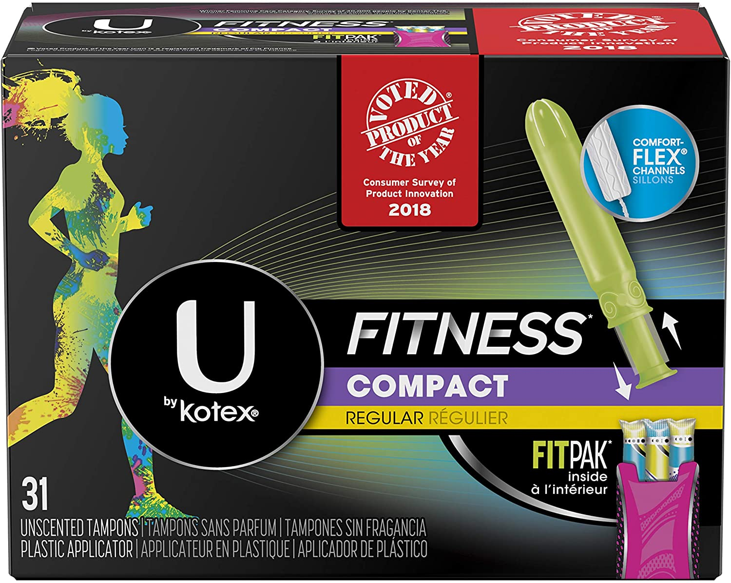 Luxury goods U by security Kotex Fitness Tampons Regular Frag with Absorbency FITPAK