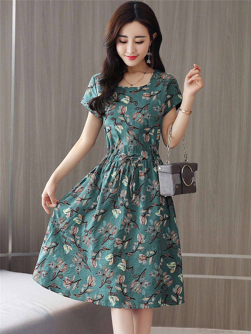 Fanru 梵如 女式 夏装新款韩版修身印花棉麻连衣裙女短袖中长款淑女气质学院风裙子 F518-620A