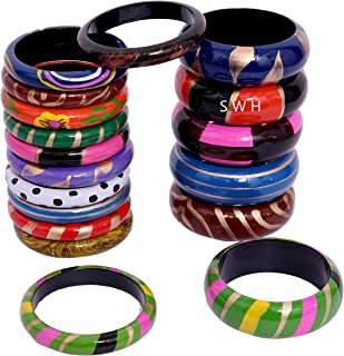 Super Wood Handicrafts Wooden Bangle/kangan and chudi for Women, Multicolored (6 Pieces, Chuda) and (12 Pieces Chudi)