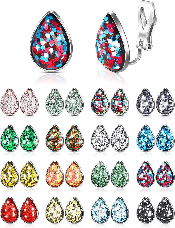 Loviflower 16 Pairs Faux Druzy Clip on Earrings Delicate Glittering Clip-on Earrings Set Dainty Clip-on Non Pierced Earrings Jewelry for Women Girls Favors