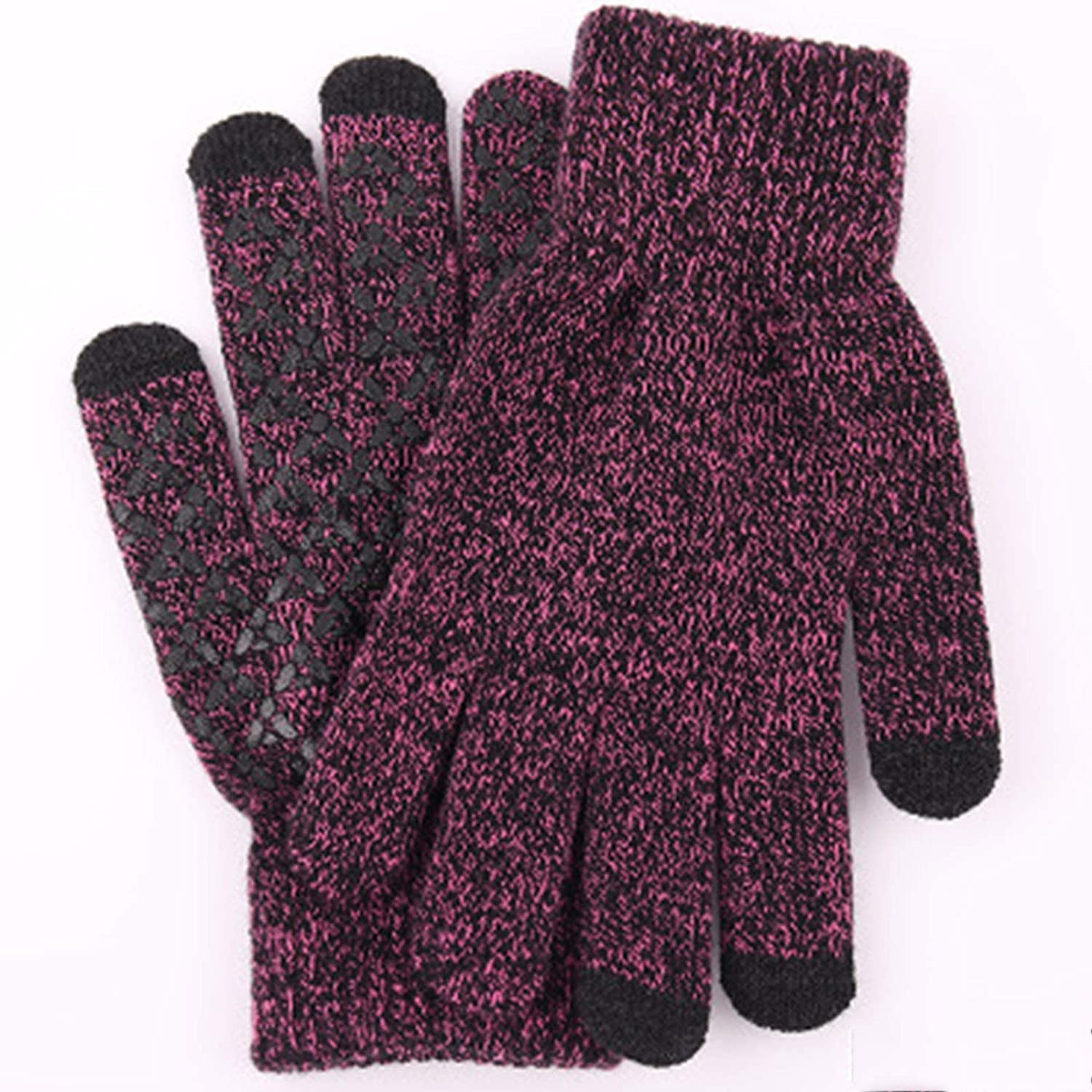 YUMGT Winter Non-Slip Knitted Warm Gloves Men's Outdoor Cycling Sports Gloves Touch Screen Gloves