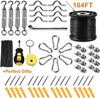 String Light Hanging Kit with 164 Ft Nylon Coated Stainless Steel 304 Wire Rope, String Lights Suspension Kit Included Enough Accessories, Use Manual,Free Gifts,Humanized Collocation,Easy to Install