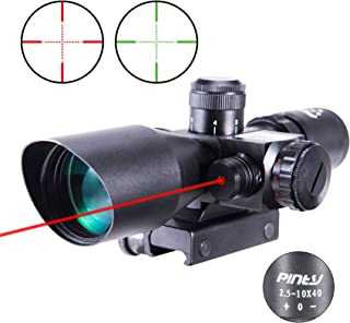Pinty 2.5-10×40 Red Green Illuminated Mil-dot Tactical Rifle Scope with Red Laser..