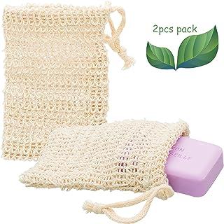 ECENCE 2X Fundas para jabón de sisal Natural Red para jabón Saco para jabón Bolsa para jabón 14cm x 9cm 23020202