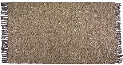 "USTIDE Cotton Reversible Rag Rug Hand Woven Multicolor Rug Entryway for Laundry Room Kitchen Bathroom Bedroom Dormat, Cotton, Brown&White, 35.4""x59"""