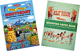 Archie McPhee Novelty Wrapping Paper, Meat Parade and Birthday Theme (Set of 2)