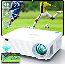 WISELAZER Video Projector 5G WiFi Bluetooth Native 1080P Support 4K, Built-in Dust Filter/AirPlay/Miracast/4-Point Keyston...