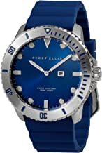 Perry Ellis Mens Watch Deep Diver Quartz Luminous Watch with Date Silicone Rubber Band Waterproof Watch