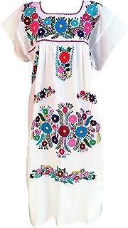 فساتين مكسيكية للنساء التقليدية مطرزة بالهبل العيد المكسيكي حزب أبيض