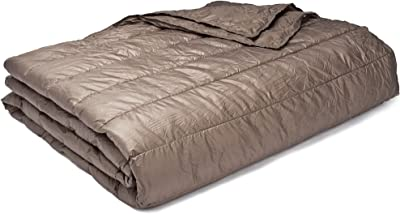PUFF Down Alternative Indoor/Outdoor Water Resistant Blanket with Extra Strong Nylon Cover, Full/Queen, Taupe
