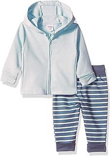 Hanes Ultimate Baby Baby-Boys BFFZN2 Flexy Fleece Adjustable Fit Jogger with Zippin Fleece Hoodie Layette Set - Multi