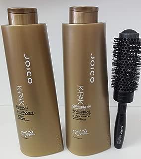 Joico K-PAK Shampoo and Conditioner 33.8 fl oz DUO Set with (SARRELA Ionic, Ceramic Hair Brush) small (33.8 fl. oz / 1000ml - Small Ionic Brush DUO Kit)