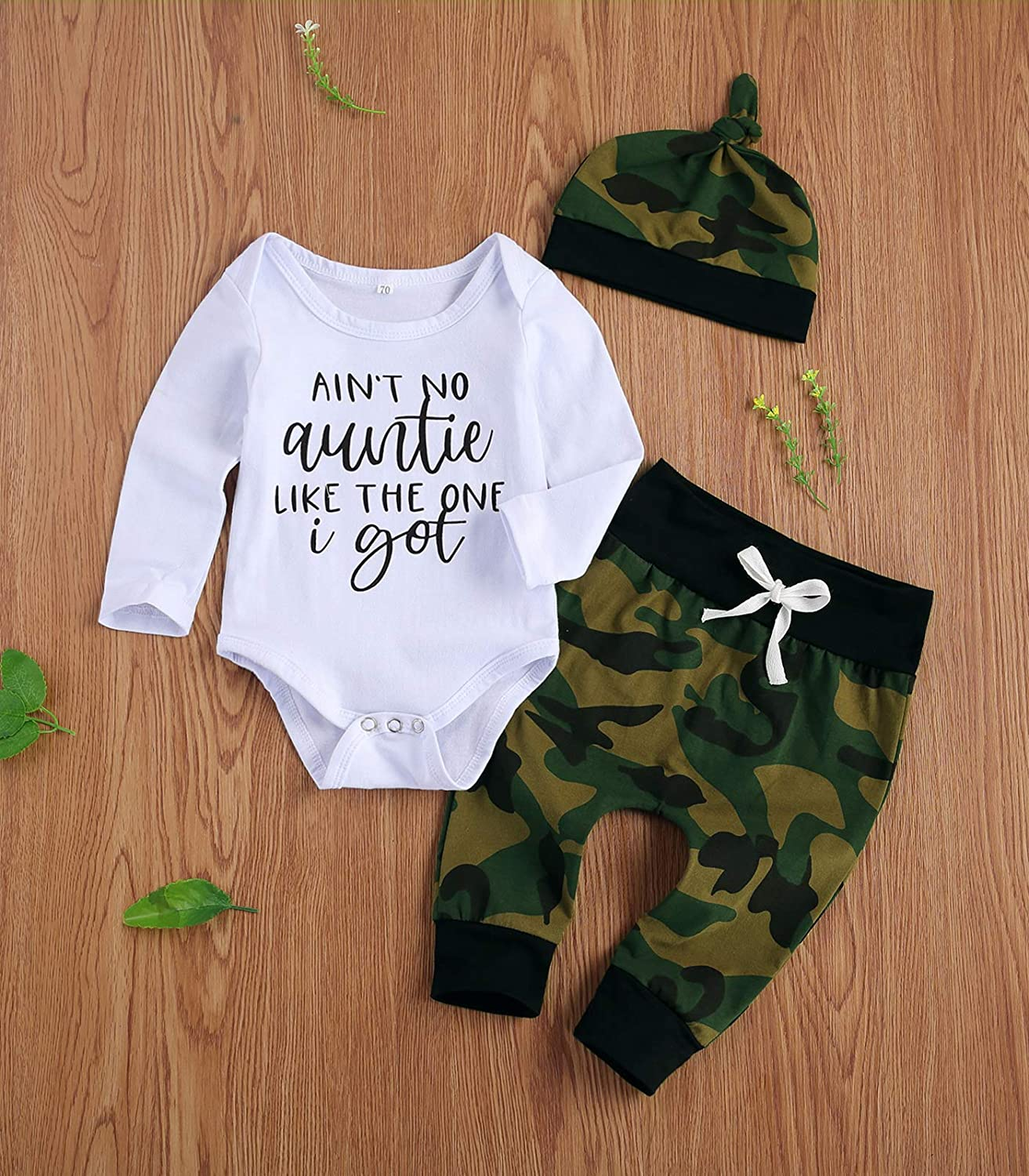 Aint No Auntie Like The One I Get Baby Boy Clothes Aunties Sayings Bodysuits Camouflage Pants+Hats Romper Set