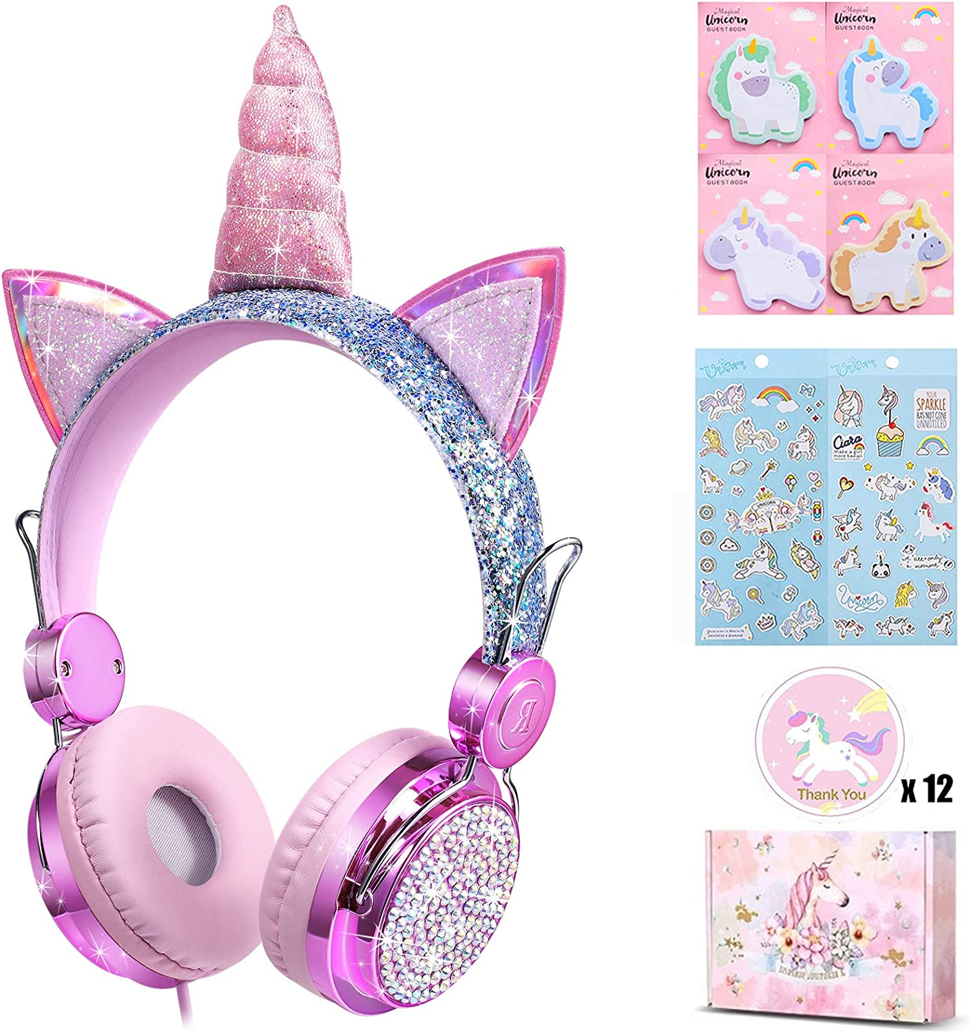 charlxee Kids Headphones with Microphone for School,Giant Unicorn Gifts for Girls Children Birthday,On Over Ear Wired Headset with 3.5mm Jack/HD Sound/Kindle/Online Study(Princess,Colorful-Purple)