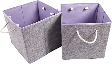 Amborido Storage Cubes Foldable Drawers Linen Fabric Bins 2 Pack, Fabric, Violet, Set of 2