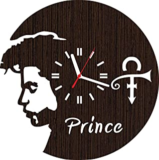 Wooden Wall Clock Prince Gifts for Men Women him her mom dad Grandpa Home Decorations Art Collectibles Fans Stuff Merchandise Accessories and Vinyl Music Poster Decor Rogers Nelson