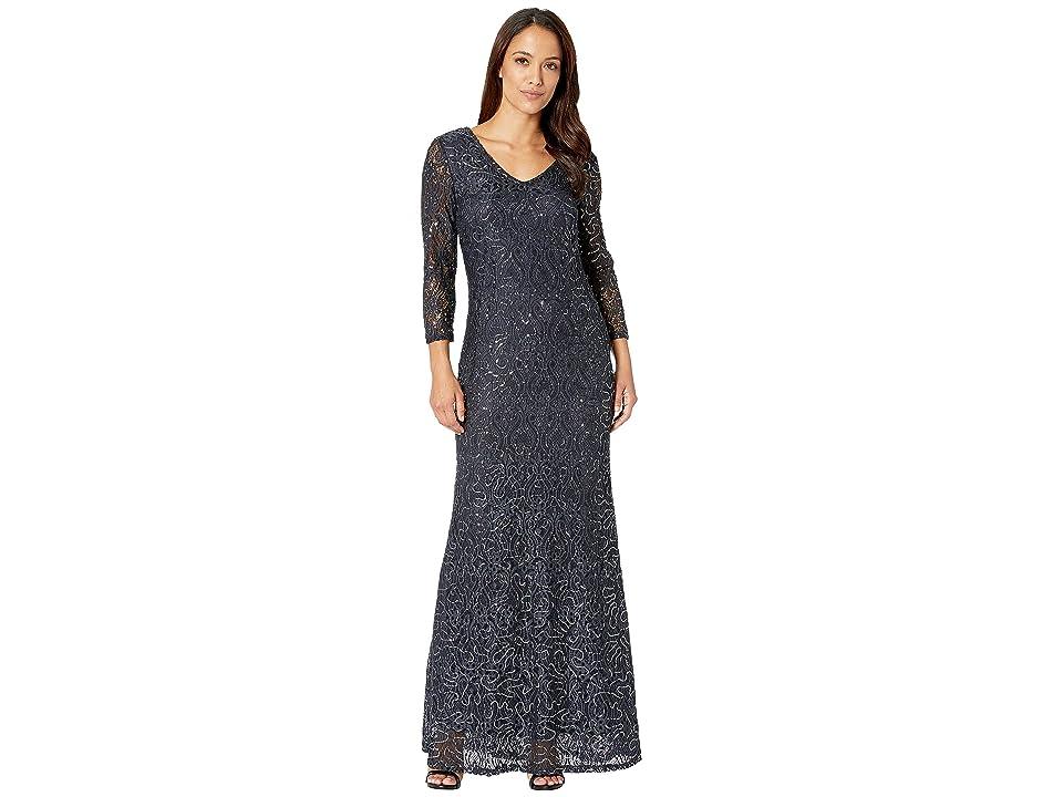 MARINA Slim 3/4 Sleeve Lace Dress with V Front/Back Neckline (Gunmetal) Women
