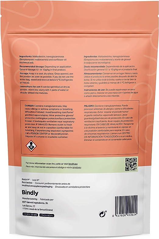 Bindly - Transglutaminasa TI - 100 gr - Mejora la Textura - Para Alimentos Ricos en Proteínas - Apto para Vegetarianos y Veganos - Productos para ...