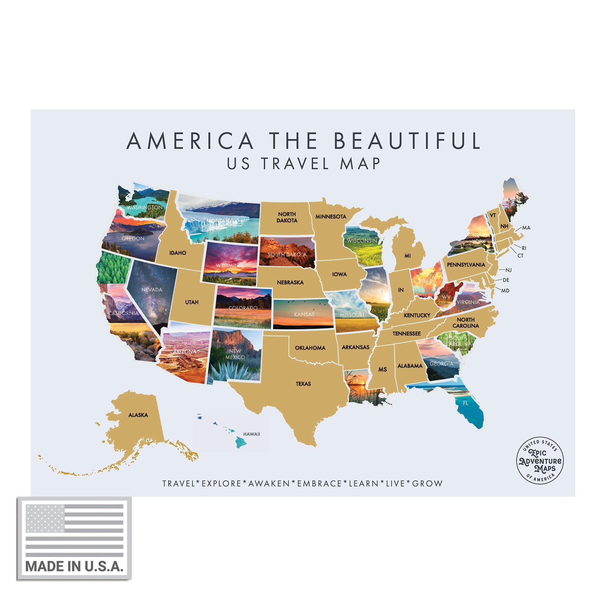 Mapa interactivo de Estados Unidos para rascar - Póster interactivo de viaje para rascar revela una hermosa