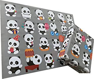 eVincE Kids Birthday Wrapping Paper, Panda with fun facts to wrap   Pack of 25 thick matte recyclable sheets   70 x 50 cms...